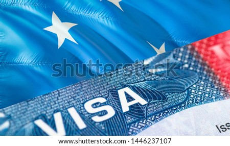 Micronesia Visa Document, with Micronesia flag in background, 3D rendering. Micronesia flag with Close up text VISA on USA visa stamp in passport.Visa passport stamp travel Micronesia business