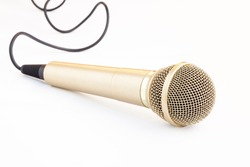 Microphone and cable isolated on white background
