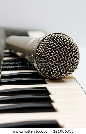 Microphone and electronic keyboard.