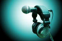 microphone and headphones. Concept audio and studio recording