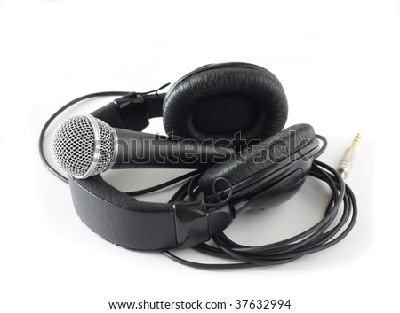 microphone and headphones over white