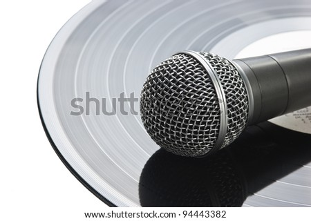 microphone and old vinyl record