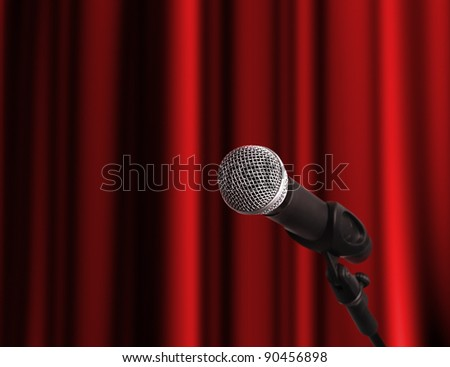 Microphone at the stage with copy space