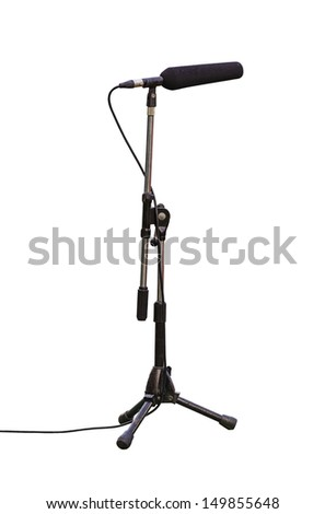 microphone boom for tv or radio for football match isolated on white background with clipping path