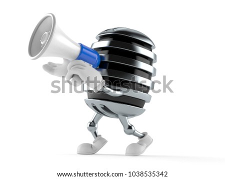 Microphone character speaking through a megaphone isolated on white background. 3d illustration