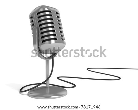 "microphone 3d illustration - radio microphone with ""on the air"" sign on top isolated over white background"