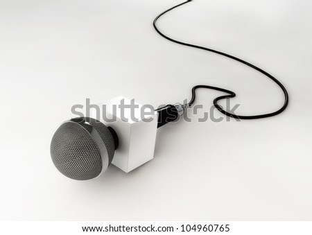 Microphone Illustration on Isolated White Background