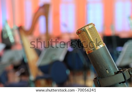 Microphone in a concert hall.