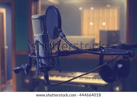 Microphone in a music studio