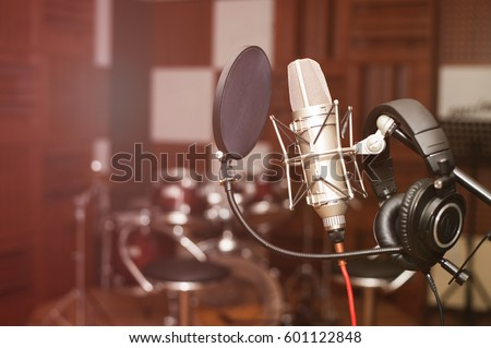 Microphone in a recording studio #601122848