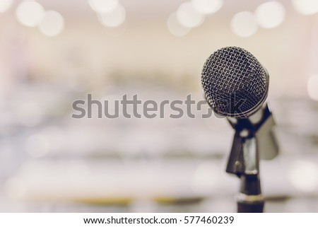 Microphone in Conference Seminar room Event Background #577460239