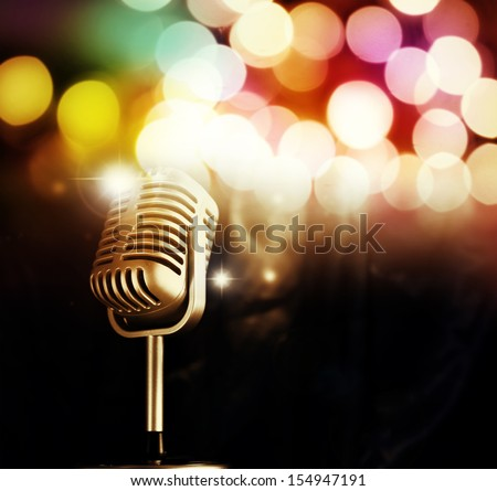 Microphone in front of bright lights