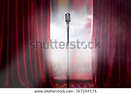 microphone in front of red...