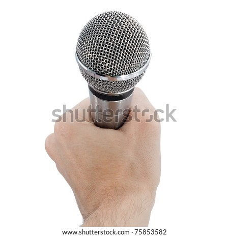 Microphone in hand isolated on white background