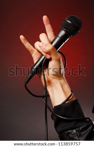 Microphone in hand. Rock style.