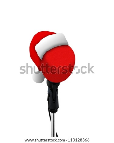 microphone in  Santa Claus hat - stock photo