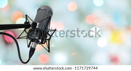 microphone in studio at background 3d illustration
