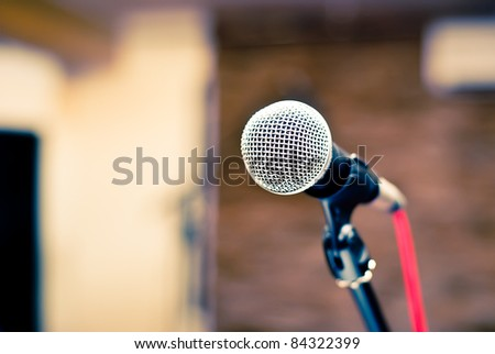 microphone in studio on a blur background