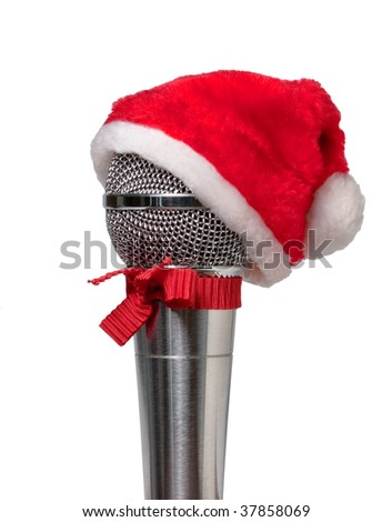 microphone in the hat of Santa Claus isolated on white background