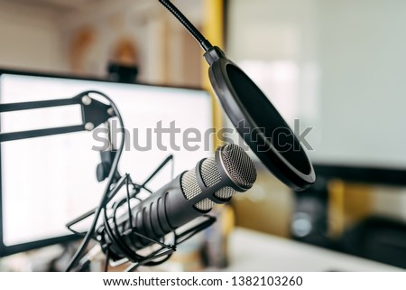 Microphone in the radio station.