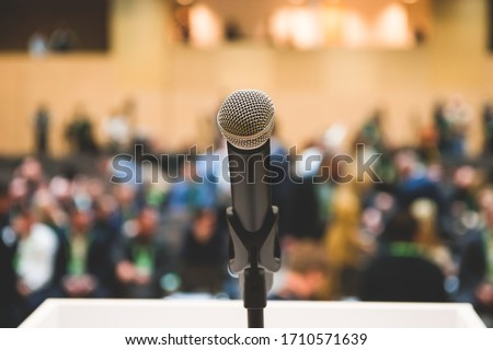 Photo of  Microphone in the room for press conference. News and information .