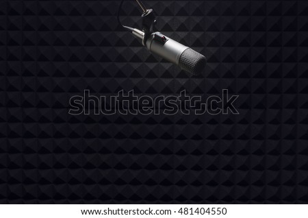 Shutterstock microphone in the studio with acoustic panels