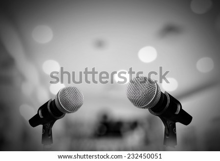 Microphone isolated on grey room Stock photo ©