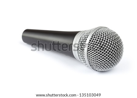 Microphone lying on white background