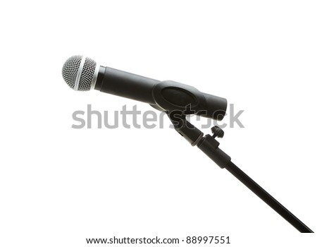 Microphone on a stand isolated on white background