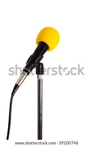 Microphone on a stand with a yellow cover on a white background