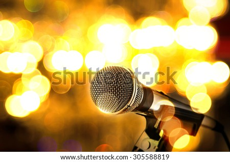 microphone on bokeh background