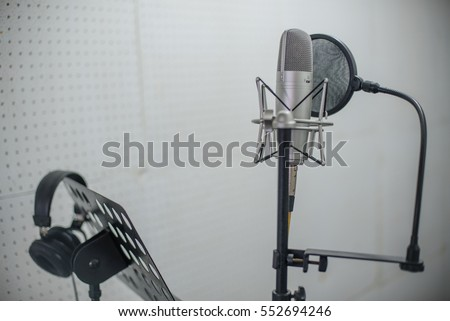 Microphone on recording room,studio microphone