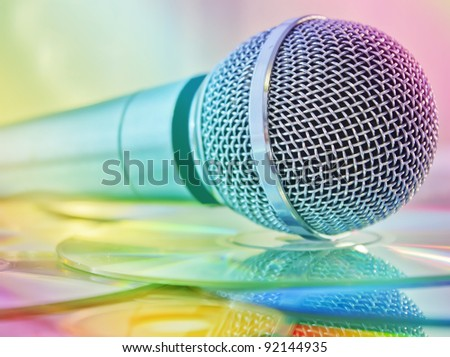 Microphone on the discs in multicolored lights