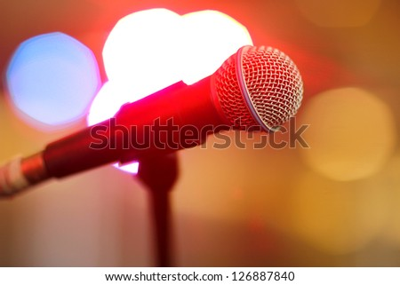 Microphone onstage with bokeh