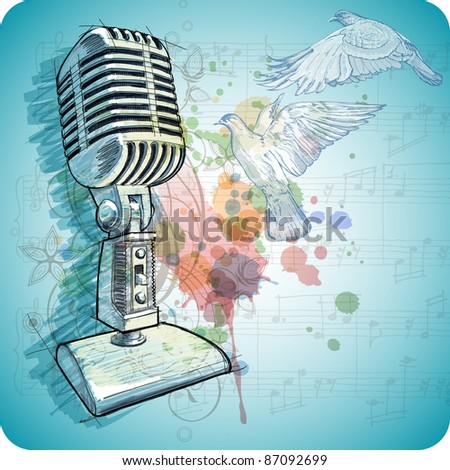 Microphone sketch, music sheets & flying doves on the color paint background of stylized ornament & orchid flowers. Bitmap copy my vector ID 71735845