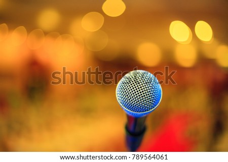 Microphone soft focus on blur abstract background #789564061