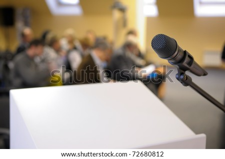 Microphone stand at conference.