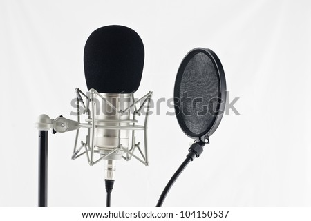 microphone to filter used in a recording studio - stock photo