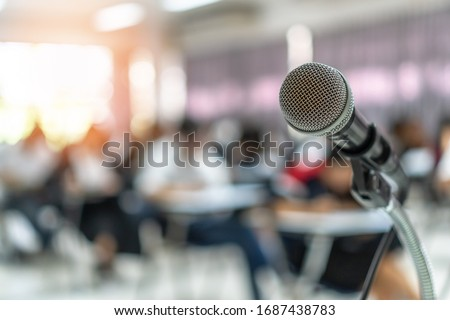 Microphone voice speaker in business seminar, speech presentation, town hall meeting, lecture hall or conference room in corporate or community event for host or townhall public hearing