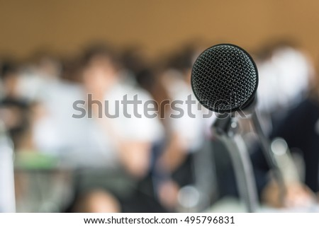 Microphone voice speaker in educational event, conference lecture hall or seminar meeting room with no audience or school student