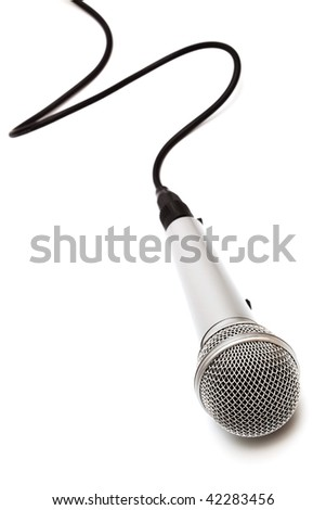 Microphone with a black cord on a white background