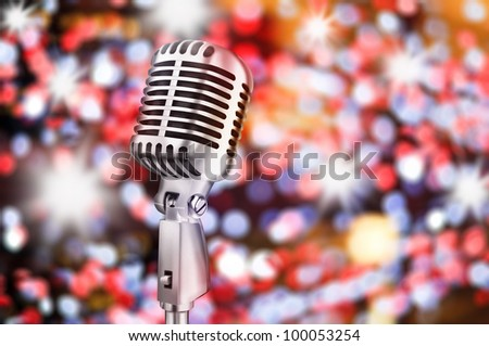 microphone with beautiful bokeh background