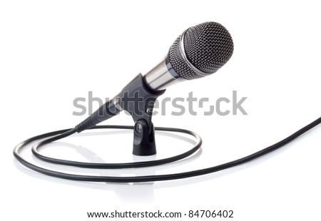 microphone with cable for voice recording isolated on white background