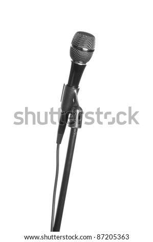 microphone with cable isolated on white