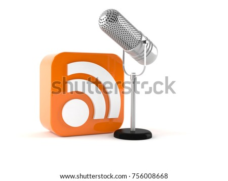 Microphone with RSS icon isolated on white background. 3d illustration