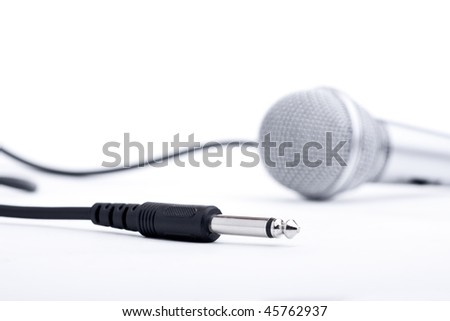 Microphone with wire, soft focus isolated on a white background