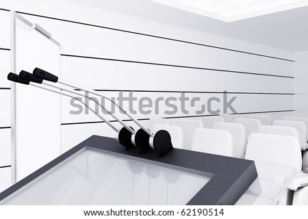 Microphones And Visual Board In Modern Conference Room Stock Photo ...