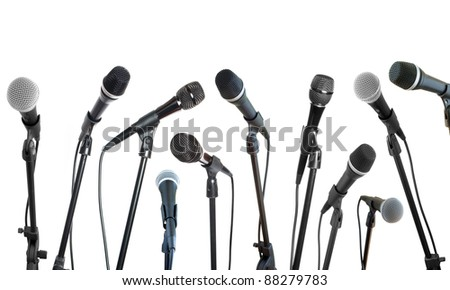 microphones collection in row isolated on white