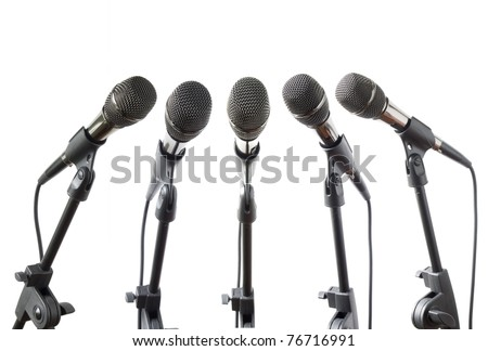 microphones collection isolated on white