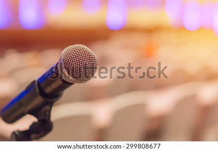 microphones in meeting room before a conference. #299808677